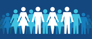graphic of men and women illustrations with blue background