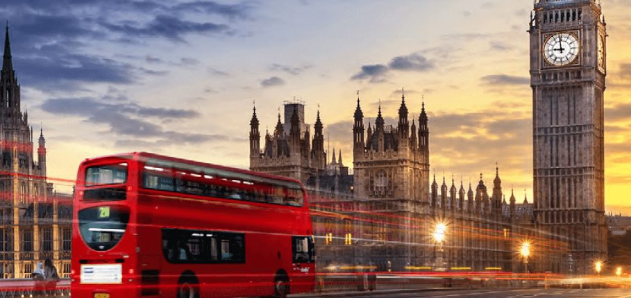 London Skyline with bus and big ben clock