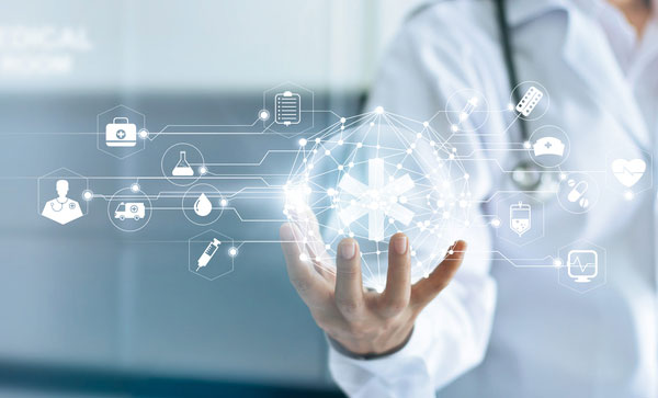 The State of IG in Healthcare- Doctor holding digital information | Iron Mountain