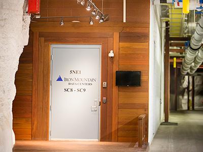 A secure door in the underground data center