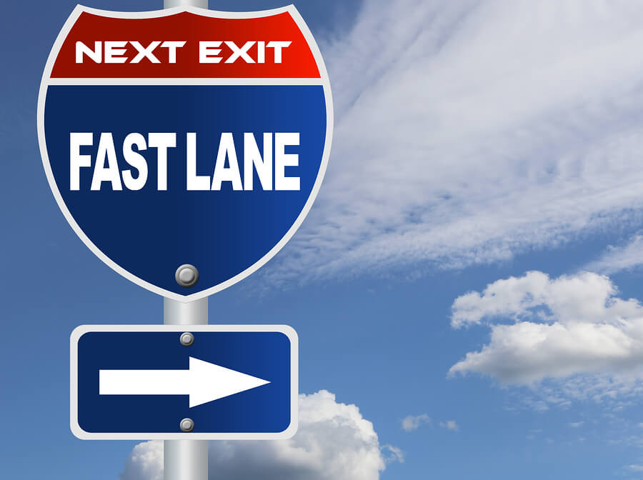 Fast lane road sign