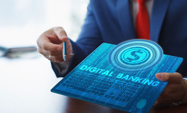 Digital Transformation in Banking - Man doing digital banking | Iron Mountain