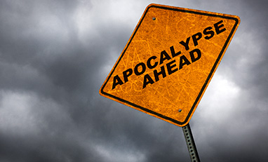 An orange sign that says apocalypse ahead