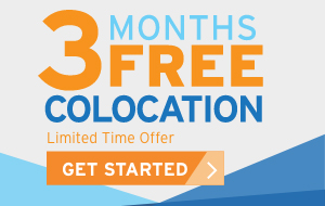 "A promo button that reads ""3 Months Free Colocation, Limited Time Offer, Get Started"""