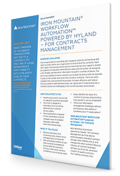 Hyland for Contracts Management with this Solution Brief First Page | Iron Mountain