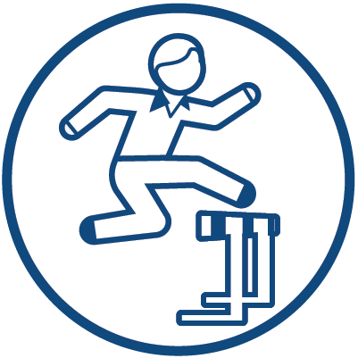 man jumping over hurdle icon