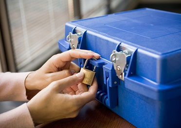 secure tape transport - tape case being locked