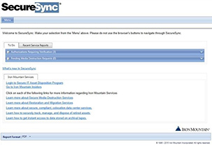 Offsite Tape Vaulting -  SecureSync program  Screenshot