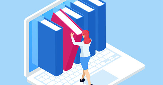 Clean Start Transforms Your Workplace And Helps You Adapt To The New Working Reality In 3 Easy Steps- An illustration of a woman browsing files