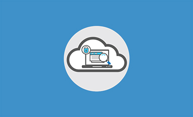 A blue and gray graphic of a cloud and a laptop with files, a magnifying glass, and a padlock