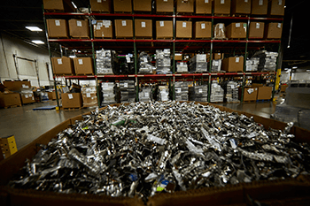 shred destruction projects it old it assets in bin at iron mountain facility