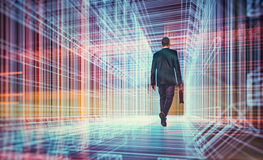 Information Compliance: Privacy & Security- A businessman walking in a virtual reality display