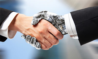 AI Is Becoming a Trusted Sidekick for Legal and HR Departments- A robot handshake