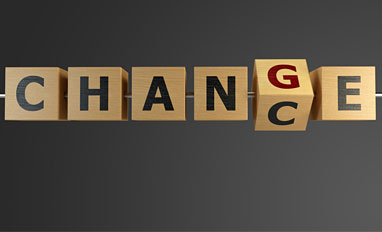 IT Steps Up: Strategic Enabler of Transformation Webinar - Chance and Change written on wooden cubes