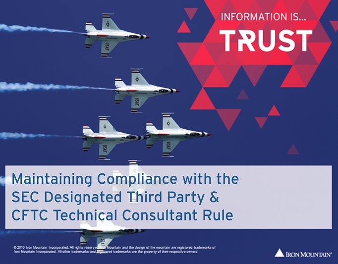 [Video] Maintaining Compliance with the SEC Designated Third Party & CFTC Technical Consultant Rule