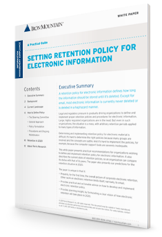 setting retention policy for electronic information